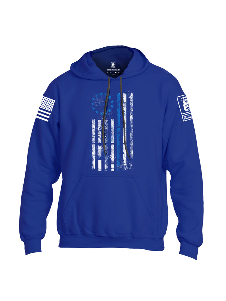 Battleraddle 13 Colonies Thin Blue Line Vertical Flag Uni Cotton Blended Hoodie With Pockets
