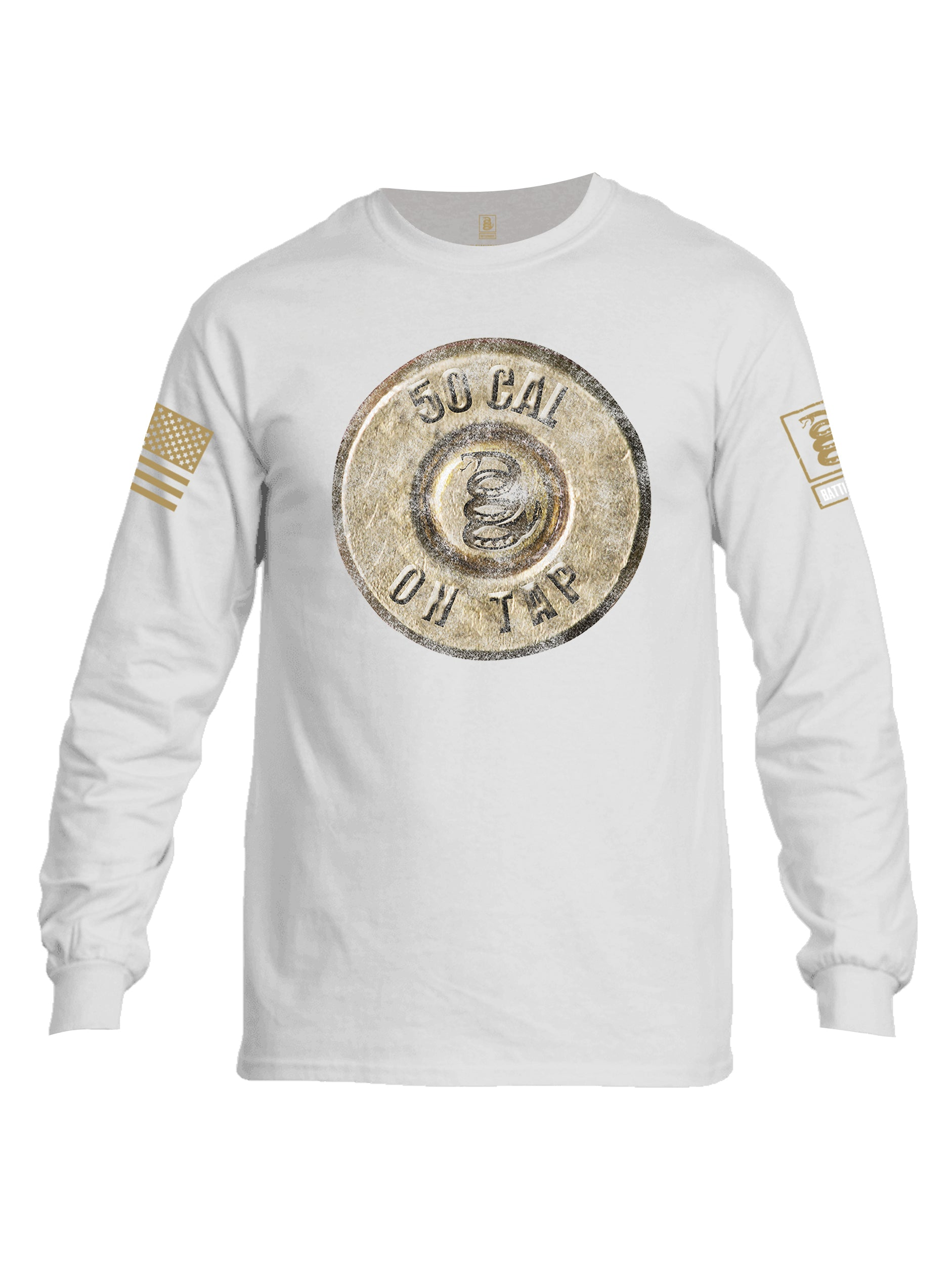 Battleraddle 50 Cal On Tap Brass Sleeve Print Mens Cotton Long Sleeve Crew Neck T Shirt Military Green