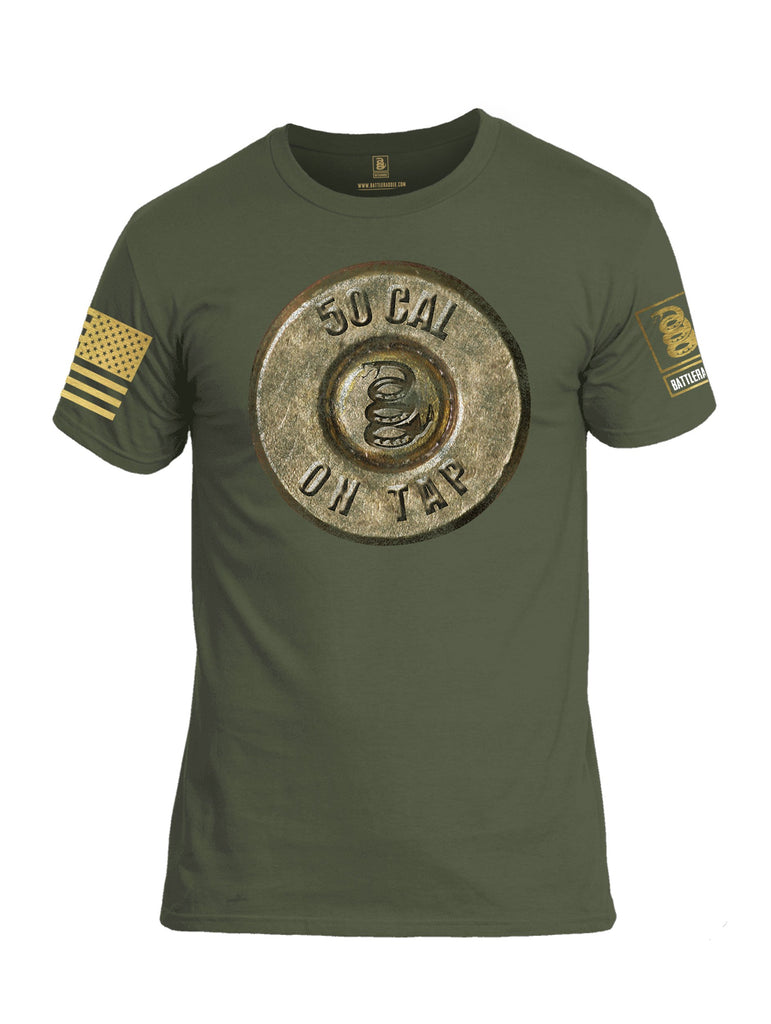 Battleraddle 50 Cal On Tap Brass Sleeve Print Mens Cotton Crew Neck T Shirt
