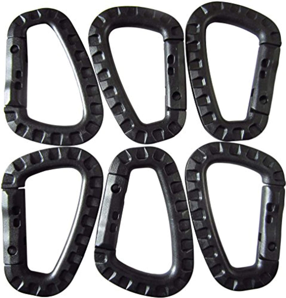 Battleraddle Black Tactical Carabiner Keychain Polymer Climb D Rings Light Weight Snap Buckle