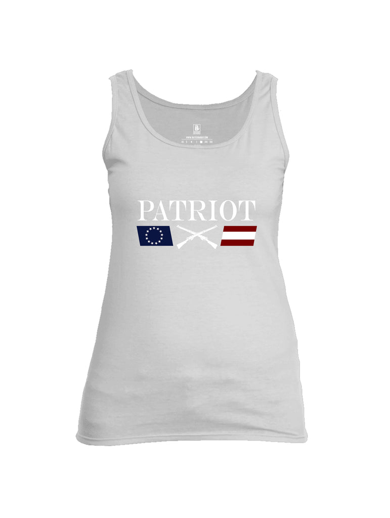 Battleraddle Patriot Rifle Flag White {sleeve_color} Sleeves Women Cotton Cotton Tank Top