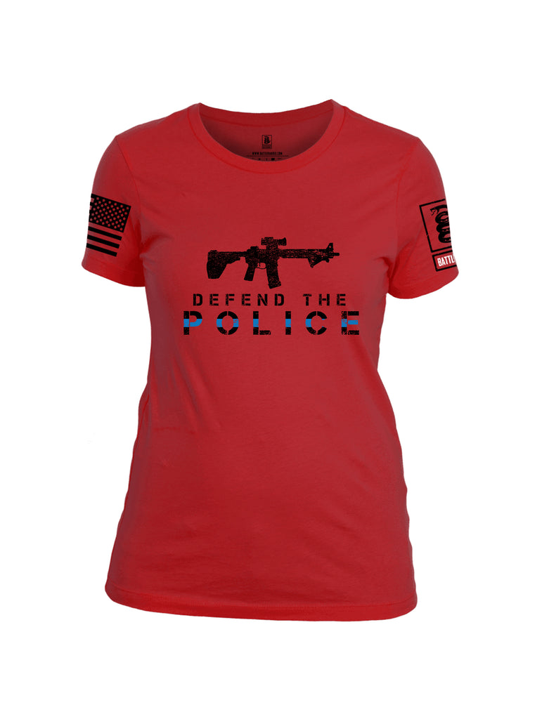 Battleraddle Defend The Police White {sleeve_color} Sleeves Women Cotton Crew Neck T-Shirt
