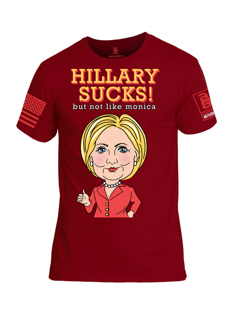 Battleraddle Hilary Sucks But Not Like Monica {sleeve_color} Sleeves Men Cotton Crew Neck T-Shirt