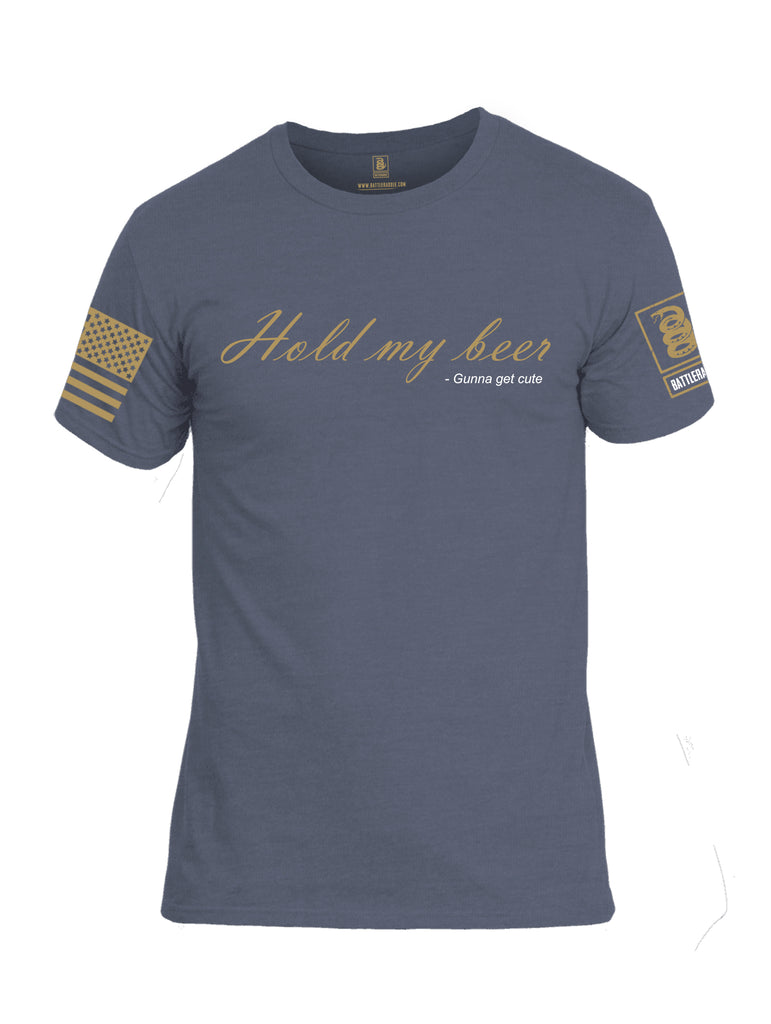 Battleraddle Hold My Beer Gunna Get Cute {sleeve_color} Sleeves Men Cotton Crew Neck T-Shirt