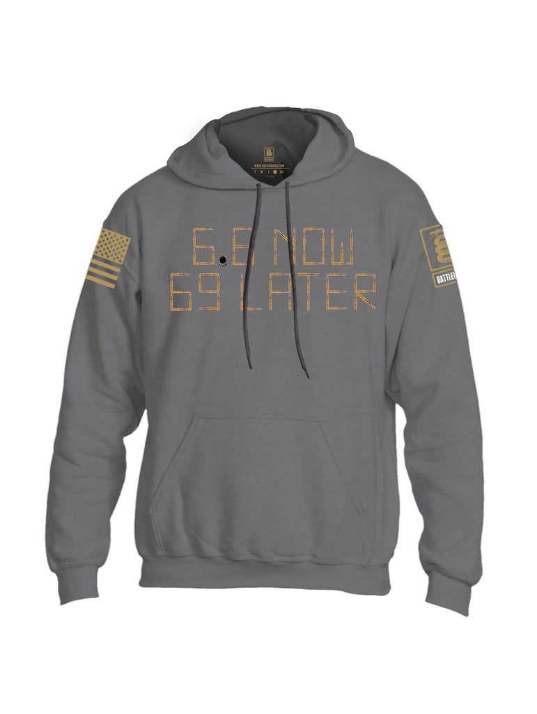 Battleraddle 6.8 Now 69 Later Brass Sleeve Print Mens Blended Hoodie With Pockets