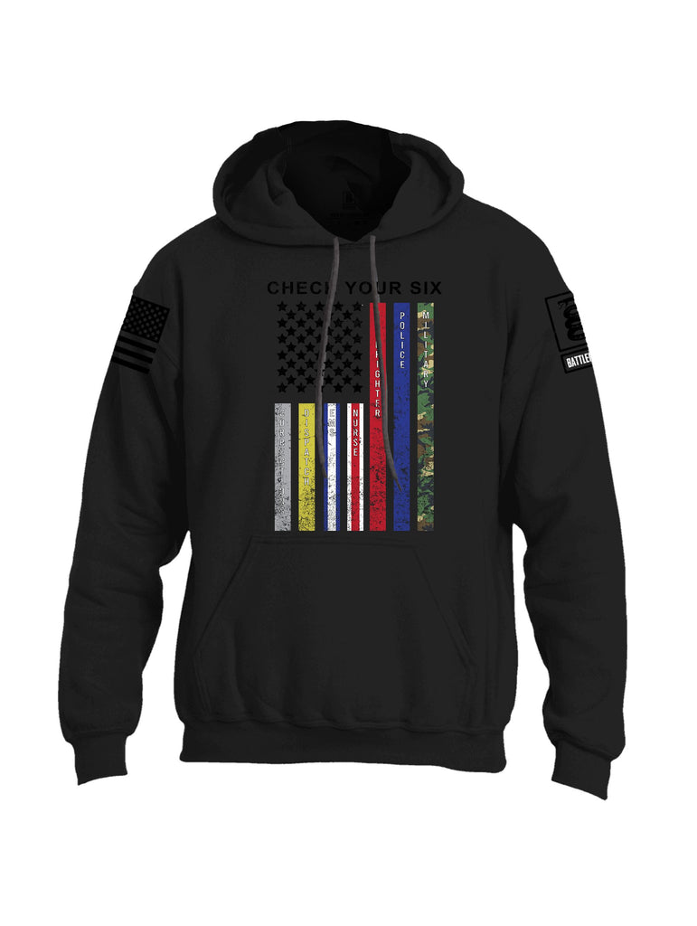 Battleraddle Check Your Six Flag {sleeve_color} Sleeves Uni Cotton Blended Hoodie With Pockets