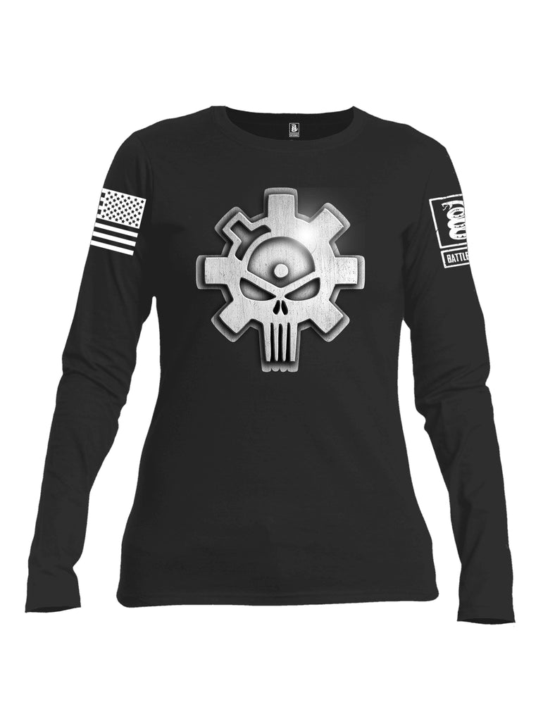 Battleraddle Superpatriot Heavy Duty Ar15 Bolt Expounder Skull Women Cotton Crew Neck Long Sleeve T Shirt