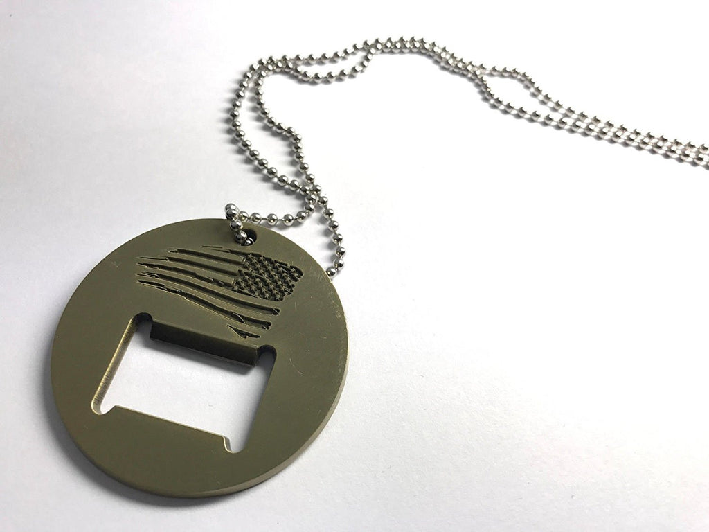 Battleraddle Coin Military Dog Tag Bottle Opener American Flag Badass Pendant Necklace - Battleraddle® LLC