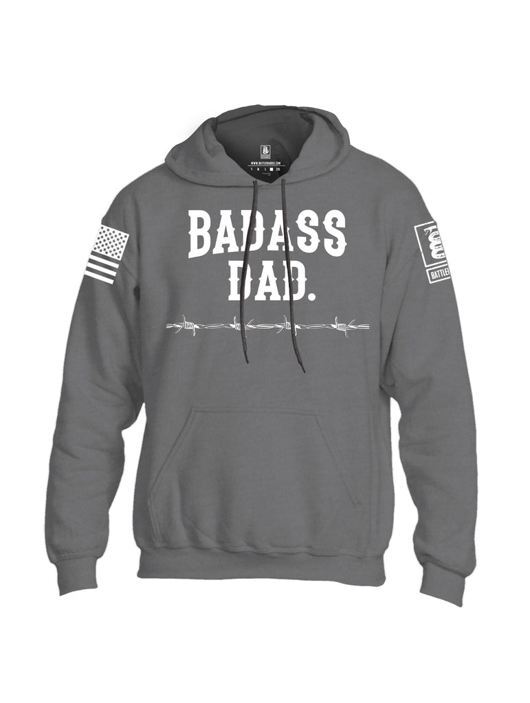 Battleraddle Badass Dad White Sleeves Uni Cotton Blended Hoodie With Pockets