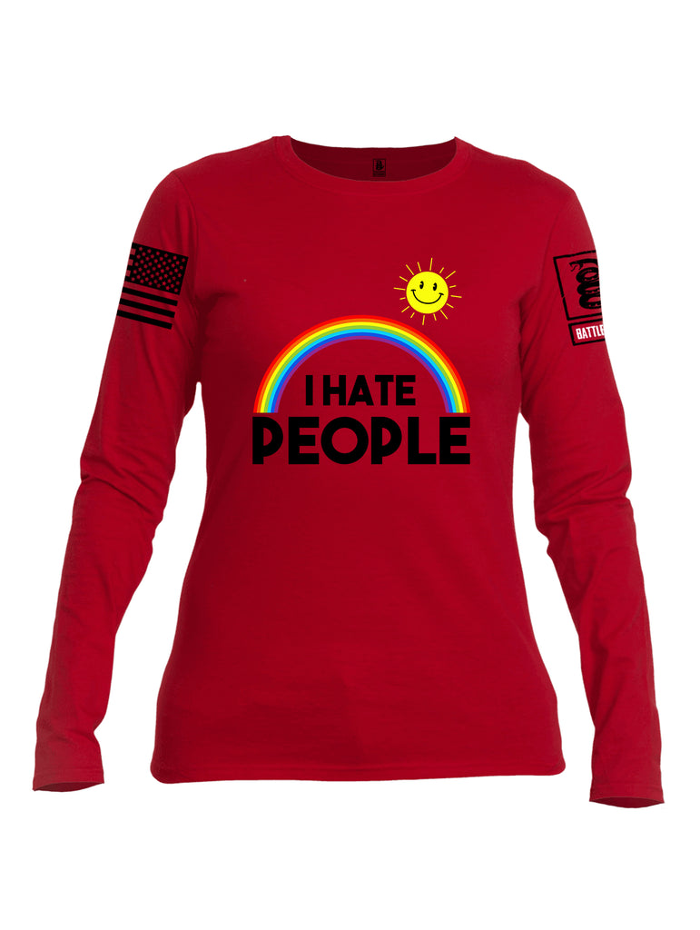 Battleraddle I Hate People {sleeve_color} Sleeves Women Cotton Crew Neck Long Sleeve T Shirt