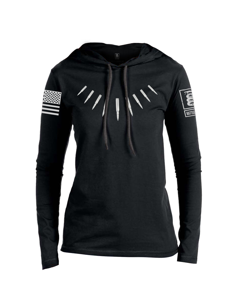 Battleraddle The Original Bullet Panther Stainless Bullet Grey Sleeve Print Womens Thin Cotton Lightweight Hoodie