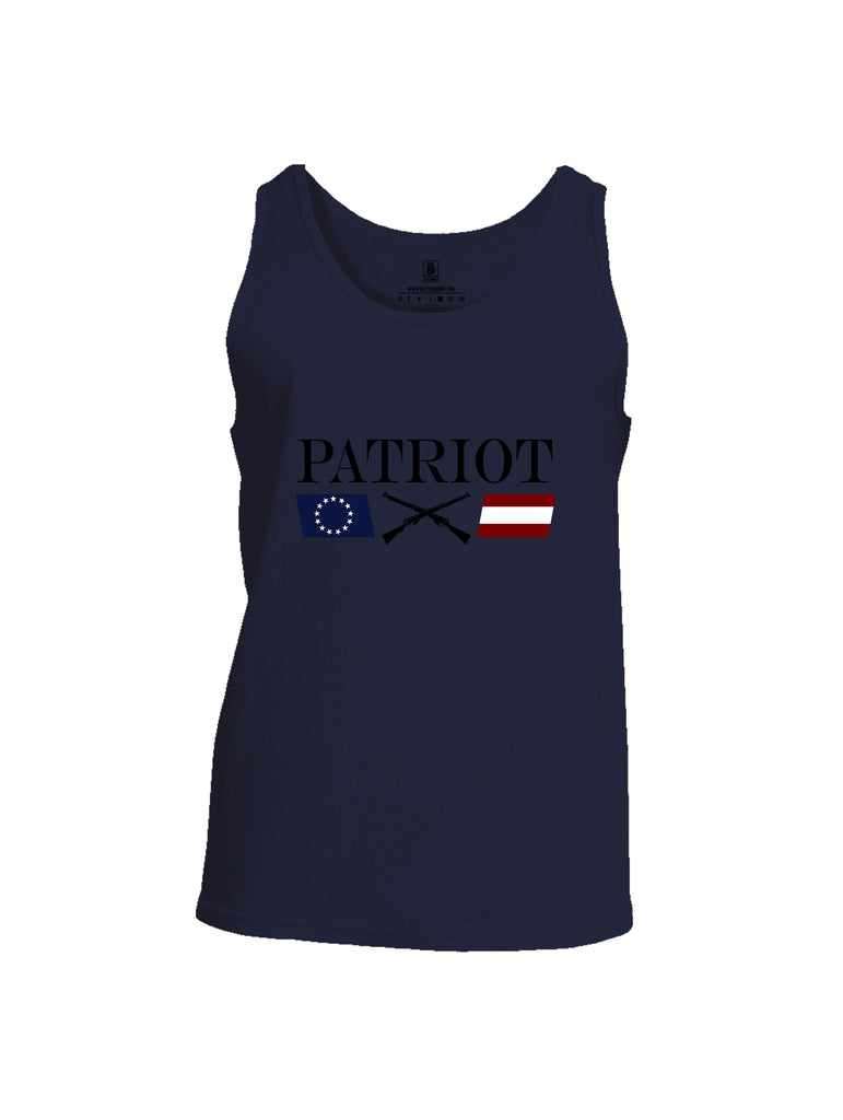 Battleraddle Patriot Rifle Flag Black {sleeve_color} Sleeves Men Cotton Cotton Tank Top