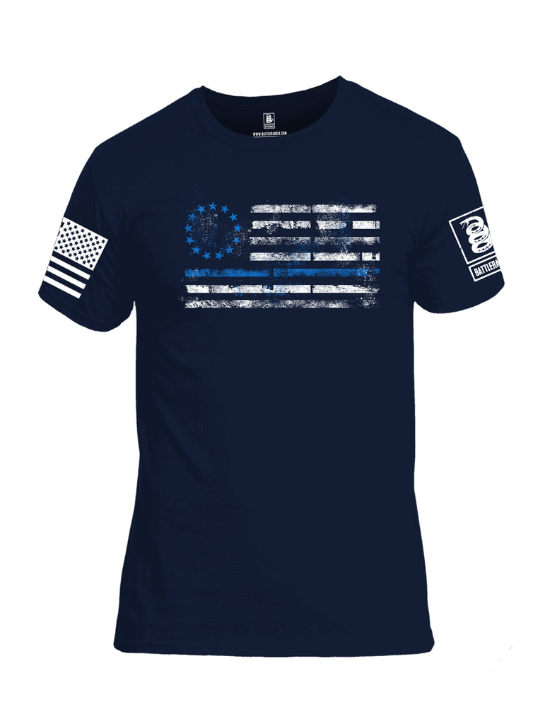 Battleraddle 13 Colonies Thin Blue Line Horizontal Flag  Men Cotton Crew Neck T-Shirt