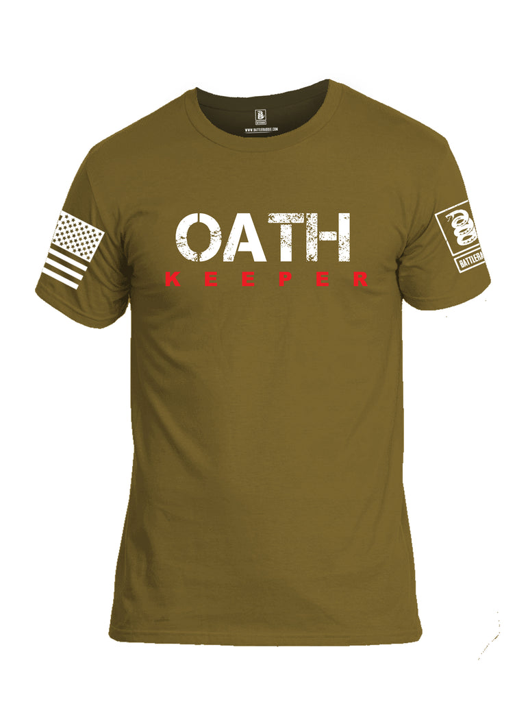 Battleraddle Oath Keeper White {sleeve_color} Sleeves Men Cotton Crew Neck T-Shirt