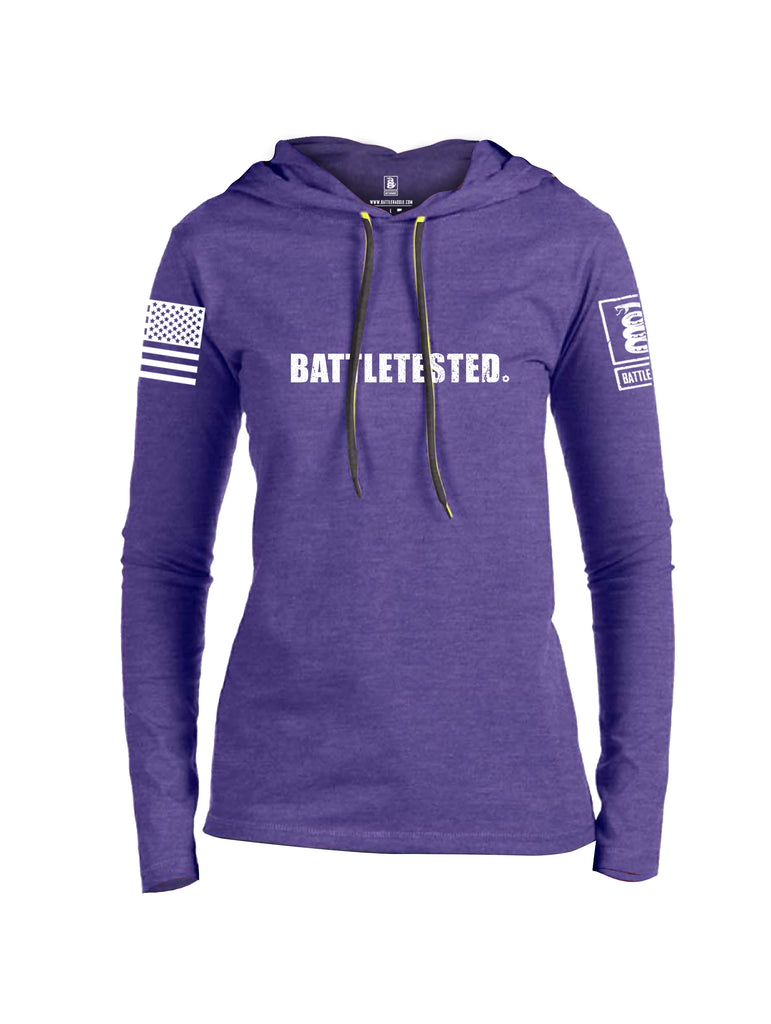 Battleraddle Battletested White {sleeve_color} Sleeves Women Cotton Thin Cotton Lightweight Hoodie