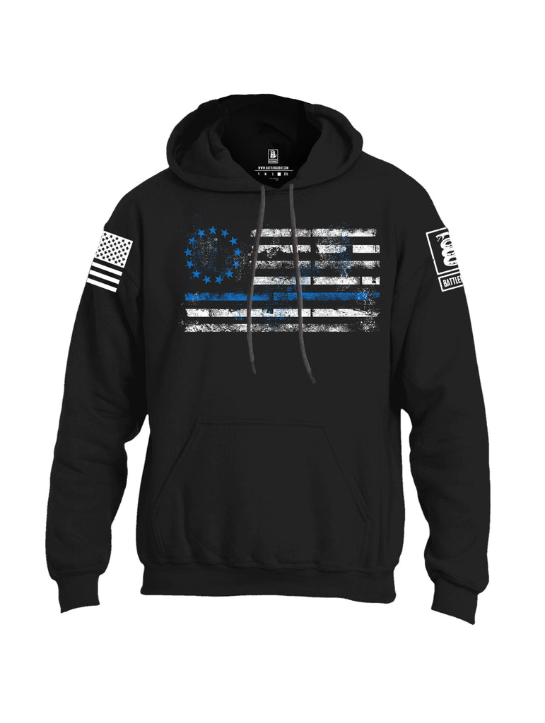 Battleraddle 13 Colonies Thin Blue Line Horizontal Flag  Uni Cotton Blended Hoodie With Pockets