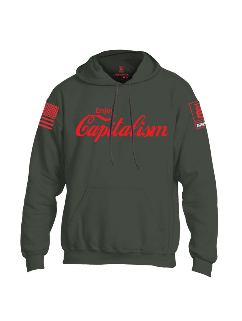 Battleraddle Enjoy Capitalism {sleeve_color} Sleeves Uni Cotton Blended Hoodie With Pockets