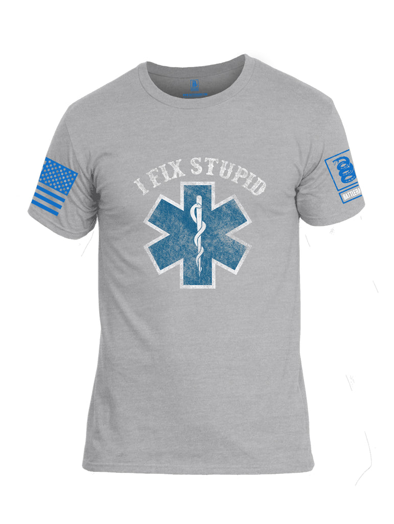 Battleraddle I Fix Stupid {sleeve_color} Sleeves Men Cotton Crew Neck T-Shirt