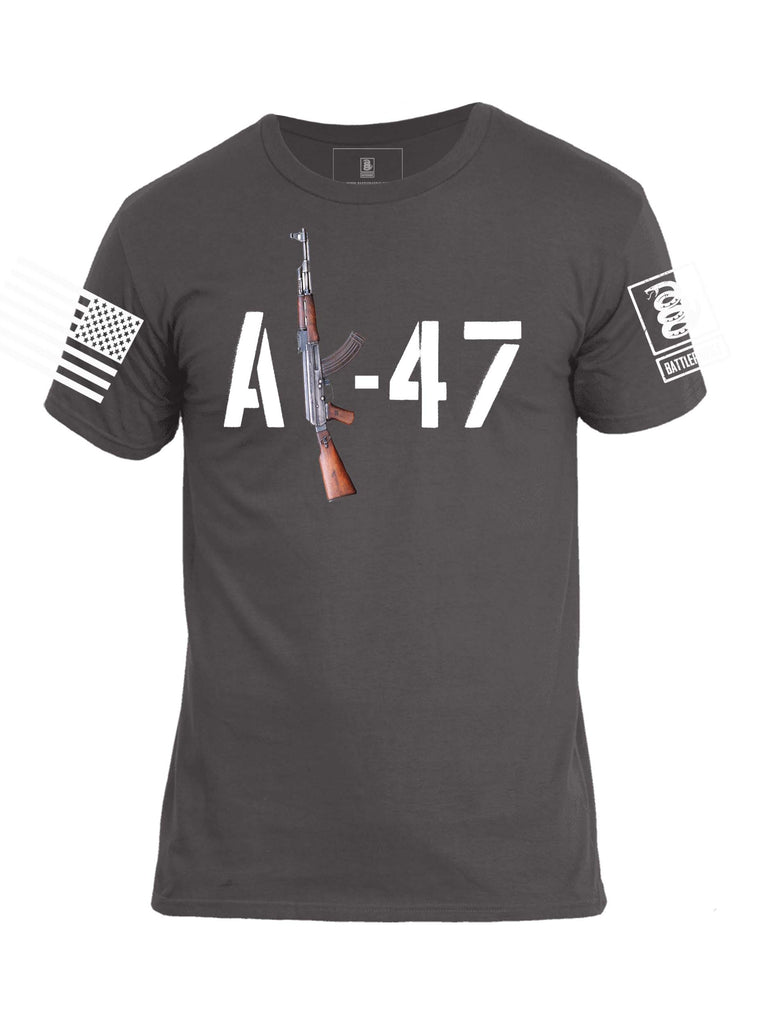 Battleraddle AK-47 White Sleeve Print Mens Cotton Crew Neck T Shirt - Battleraddle® LLC