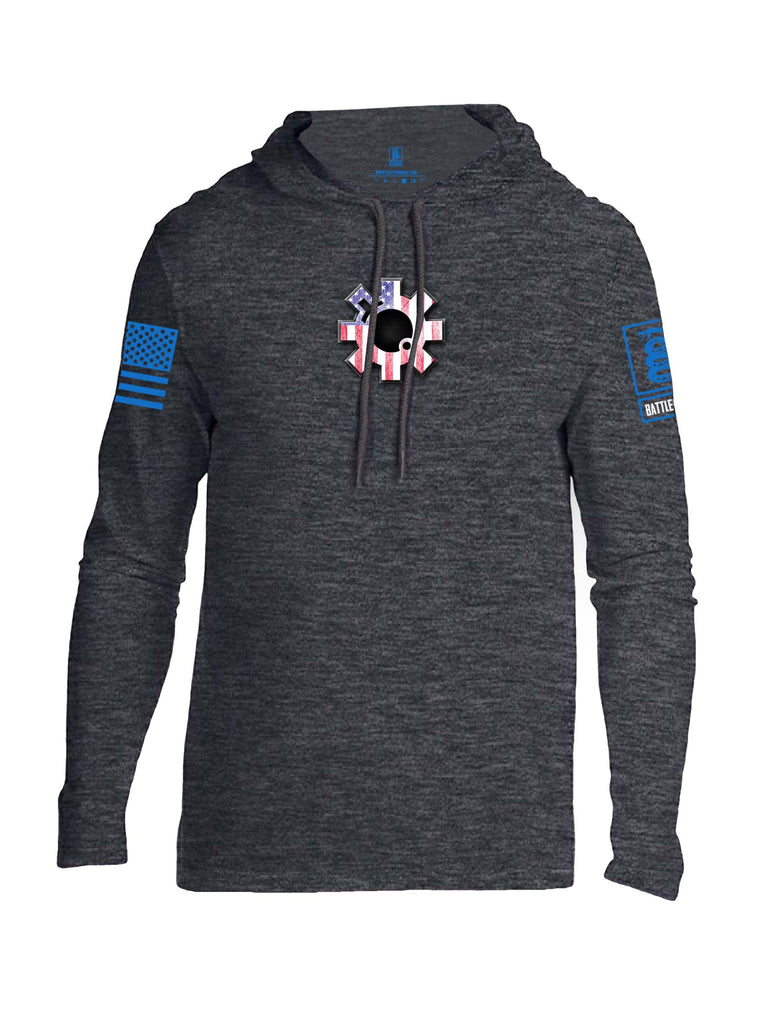 Battleraddle AR15 Bolt USA Flag Blue Sleeve Print Mens Thin Cotton Lightweight Hoodie