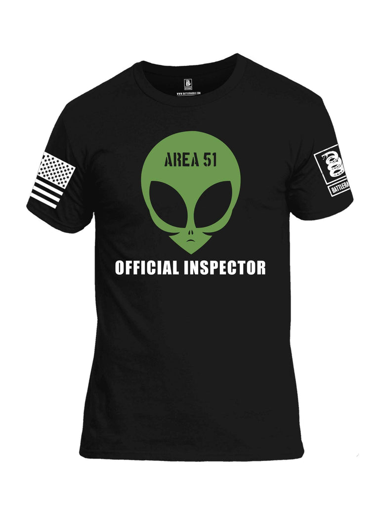 Battleraddle Area 51 Official Inspector White Sleeve Print Mens Cotton Crew Neck T Shirt shirt|custom|veterans|Apparel-Mens T Shirt-cotton
