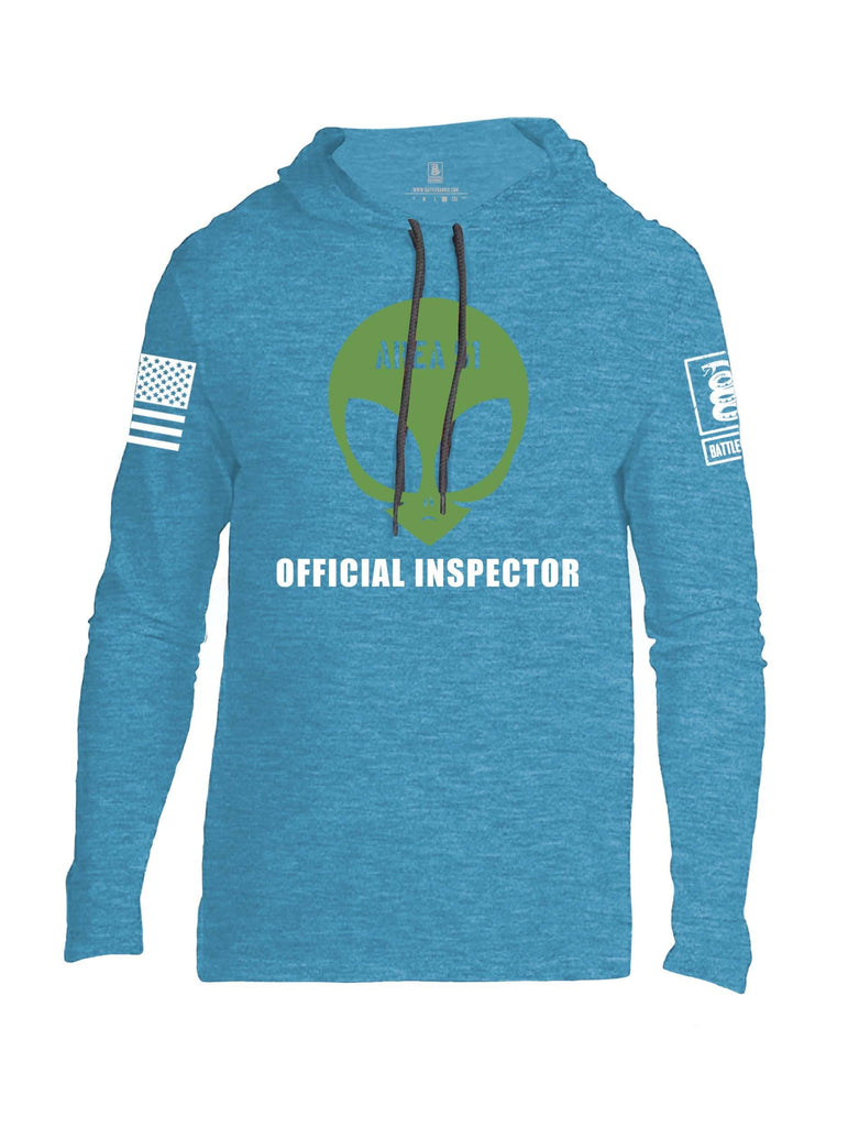 Battleraddle Area 51 Official Inspector White Sleeve Print Mens Thin Cotton Lightweight Hoodie shirt|custom|veterans|Apparel-Mens Hoodie-Cotton