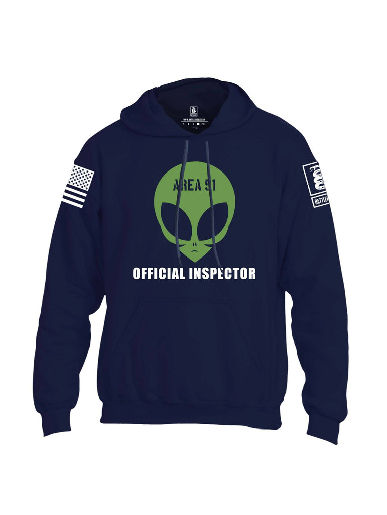 Battleraddle Area 51 Official Inspector White Sleeve Print Mens Blended Hoodie With Pockets shirt|custom|veterans|Apparel-Mens Hoodies-Cotton/Dryfit Blend