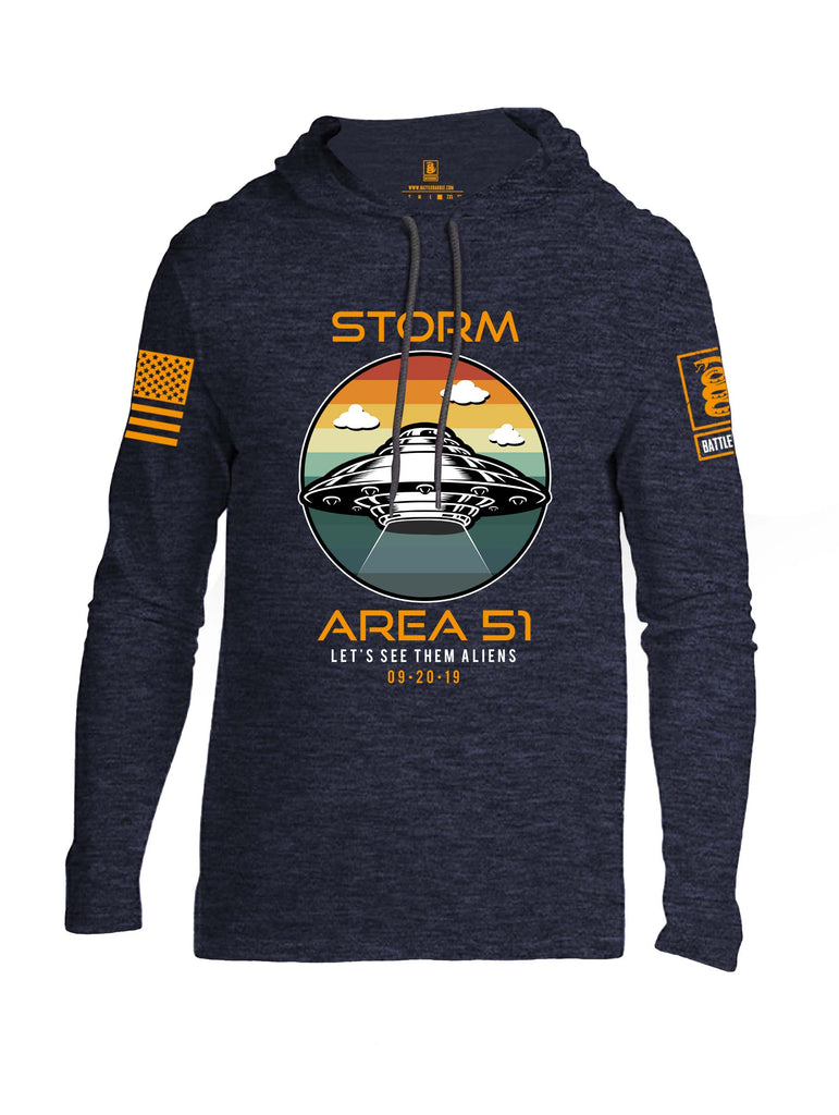 Battleraddle Storm Area 51 Lets See Them Aliens Orange Sleeve Print Mens Thin Cotton Lightweight Hoodie