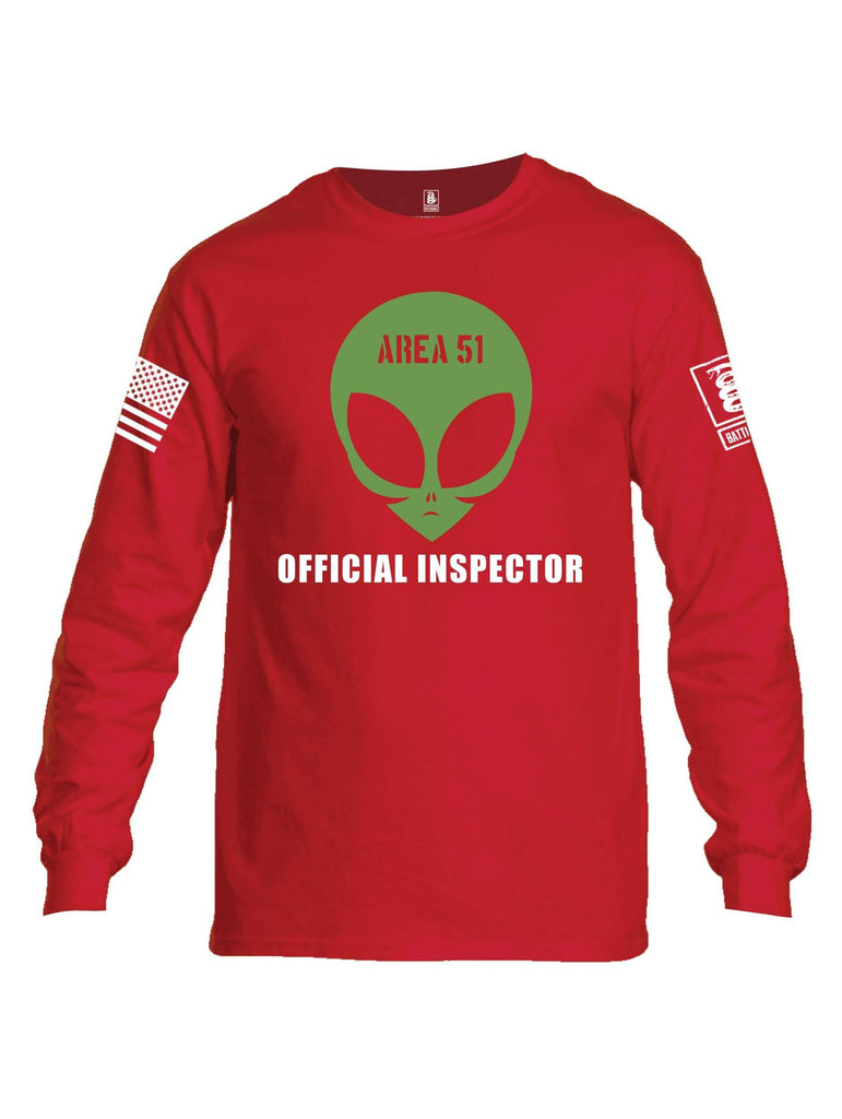 Battleraddle Area 51 Official Inspector White Sleeve Print Mens Cotton Long Sleeve Crew Neck T Shirt shirt|custom|veterans|Men-Long Sleeves Crewneck Shirt