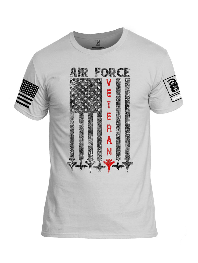 Battleraddle Air Force Veteran White Sleeve Print Mens Cotton Crew Neck T Shirt