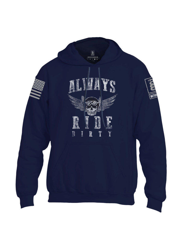 Battleraddle Always Ride Dirty Grey Sleeve Print Mens Blended Hoodie With Pockets