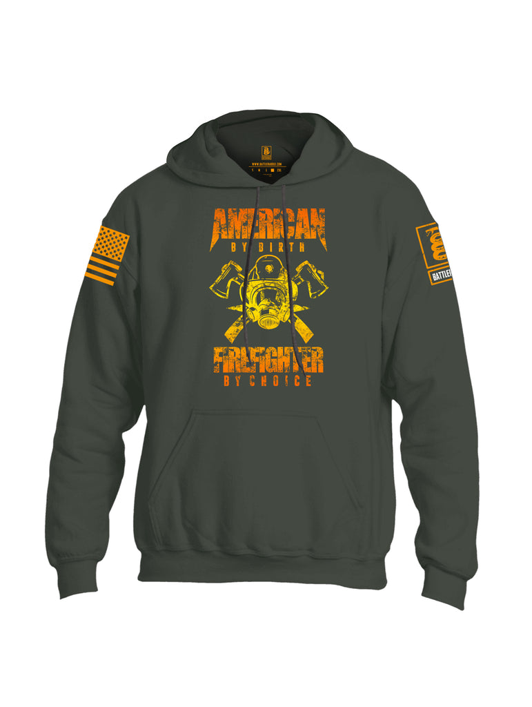 Battleraddle American By Birth Firefighter By Choice Orange Sleeve Print Mens Blended Hoodie With Pockets