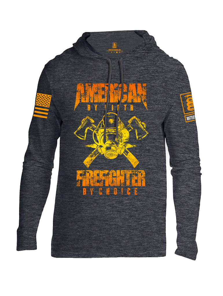 Battleraddle American By Birth Firefighter By Choice Orange Sleeve Print Mens Thin Cotton Lightweight Hoodie