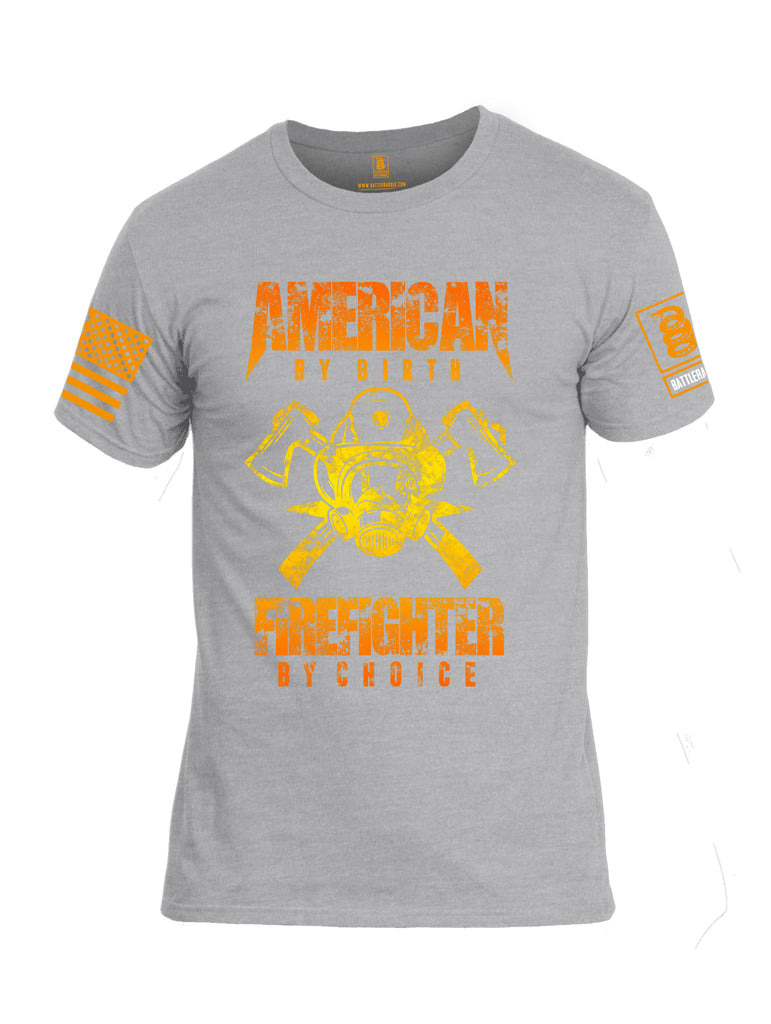 Battleraddle American By Birth Firefighter By Choice Orange Sleeve Print Mens Cotton Crew Neck T Shirt