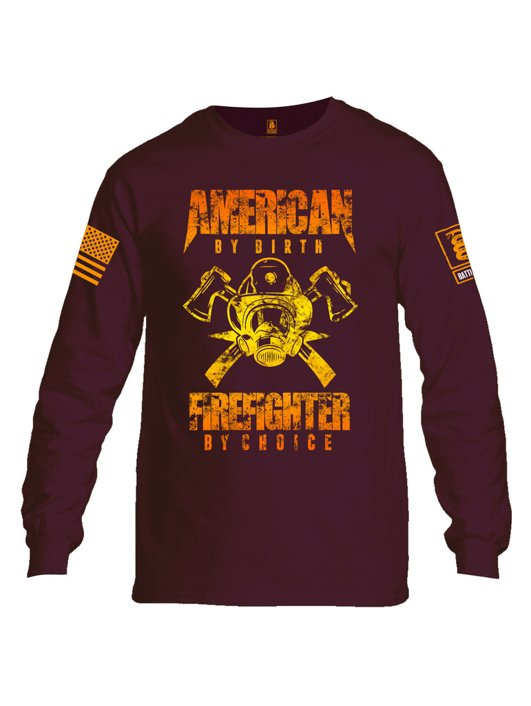 Battleraddle American By Birth Firefighter By Choice Orange Sleeve Print Mens Cotton Long Sleeve Crew Neck T Shirt