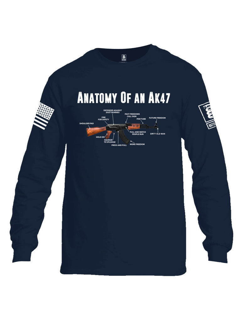 Battleraddle Anatomy Of An AK47 White Sleeve Print Mens Cotton Long Sleeve Crew Neck T Shirt