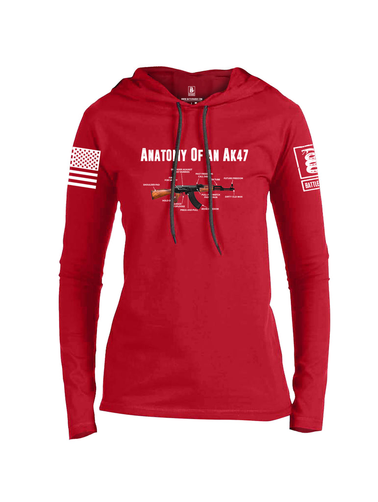 Battleraddle Anatomy Of An AK47 White Sleeve Print Womens Thin Cotton Lightweight Hoodie