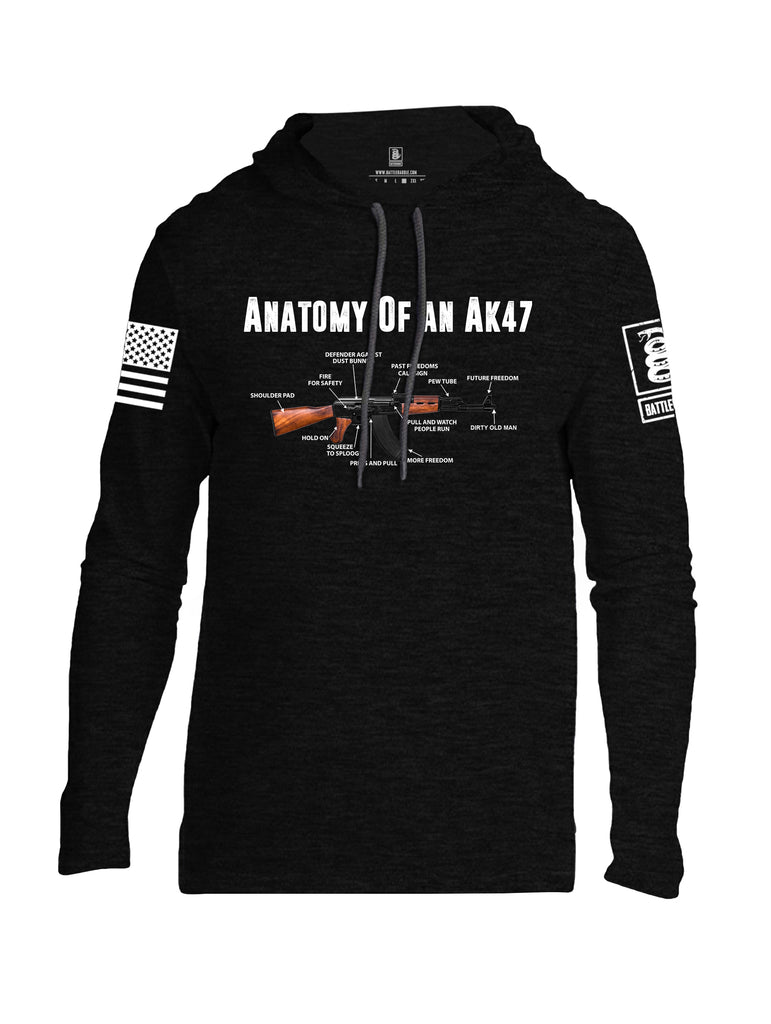Battleraddle Anatomy Of An AK47 White Sleeve Print Mens Thin Cotton Lightweight Hoodie