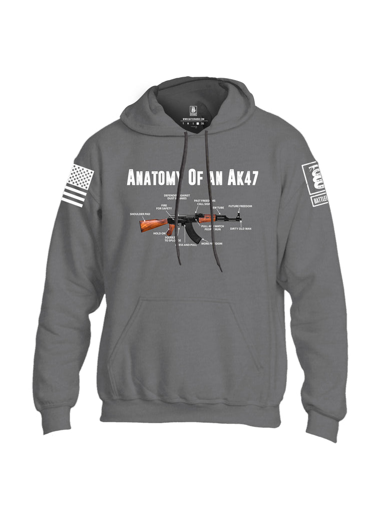 Battleraddle Anatomy Of An AK47 White Sleeve Print Mens Blended Hoodie With Pockets