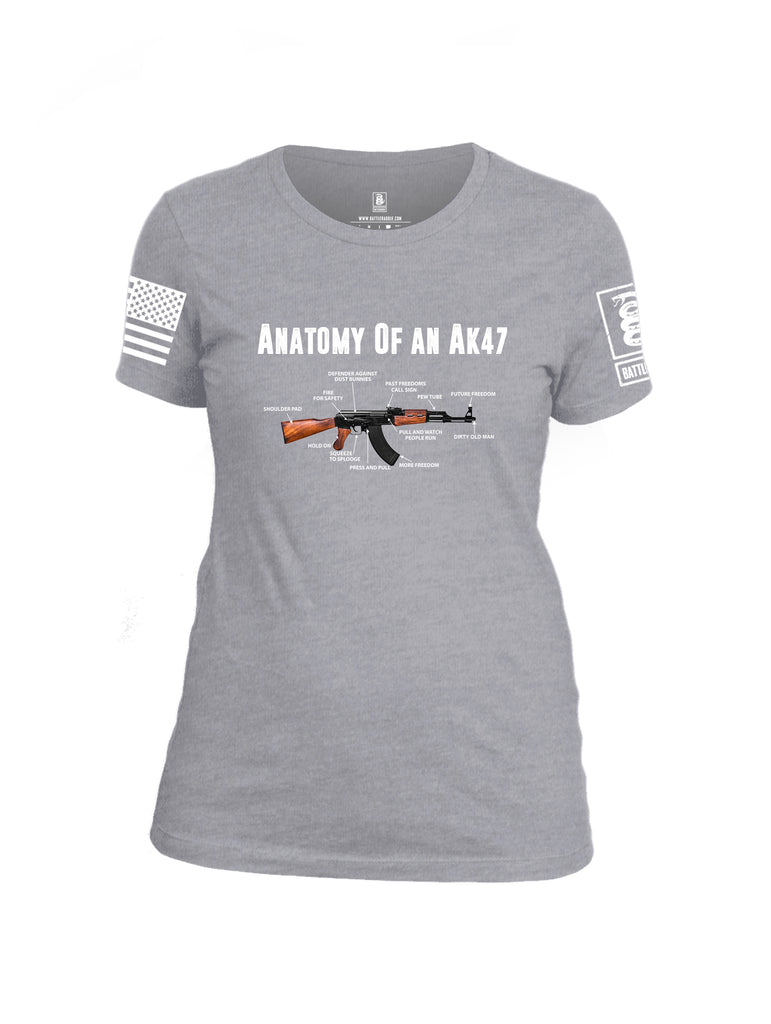 Battleraddle Anatomy Of An AK47 White Sleeve Print Womens Cotton Crew Neck T Shirt