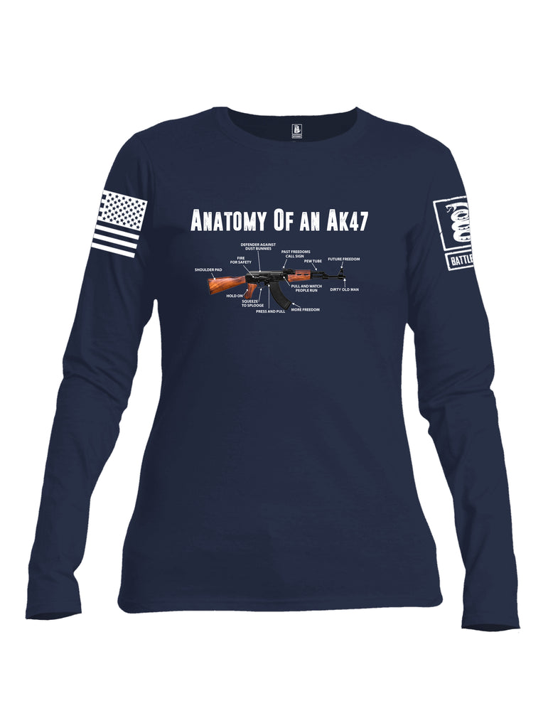 Battleraddle Anatomy Of An AK47 White Sleeve Print Womens Cotton Long Sleeve Crew Neck T Shirt