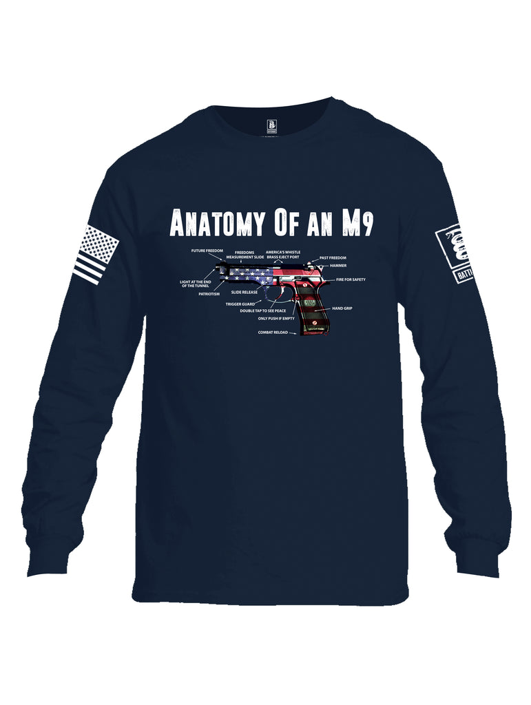 Battleraddle Anatomy Of An M9 White Sleeve Print Mens Cotton Long Sleeve Crew Neck T Shirt