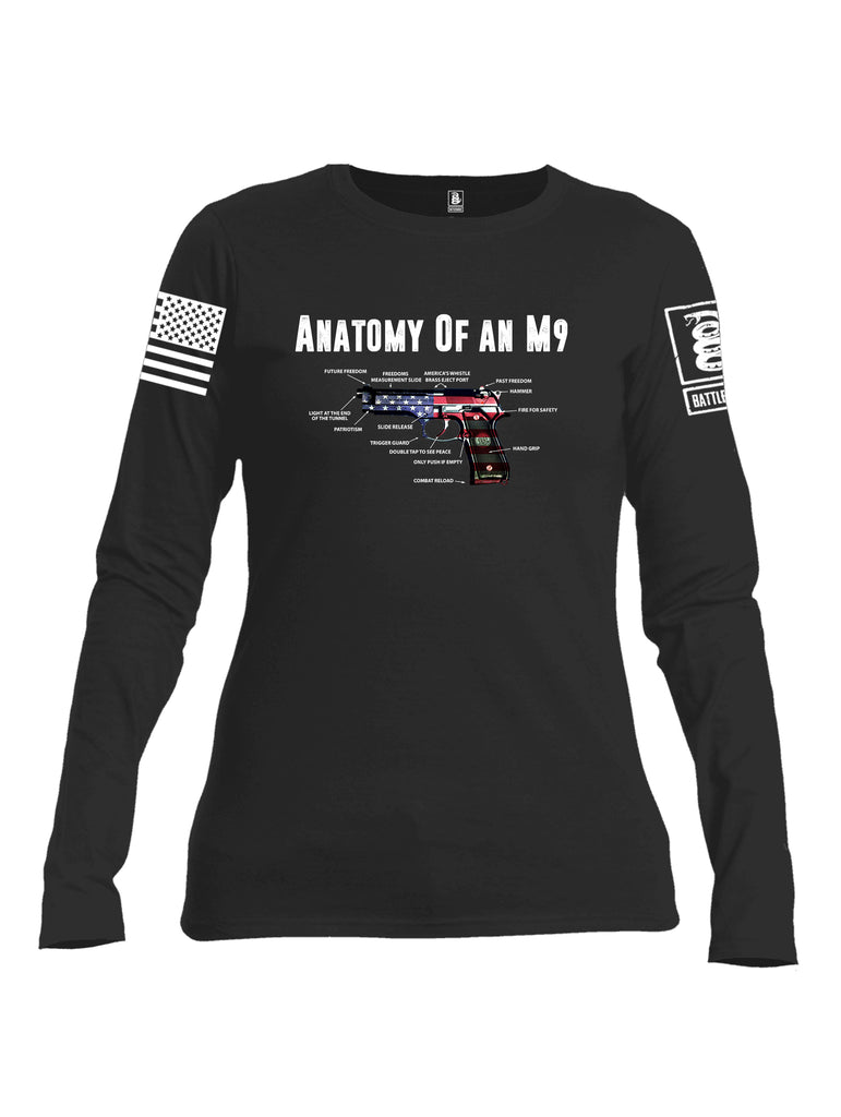 Battleraddle Anatomy Of An M9 White Sleeve Print Womens Cotton Long Sleeve Crew Neck T Shirt