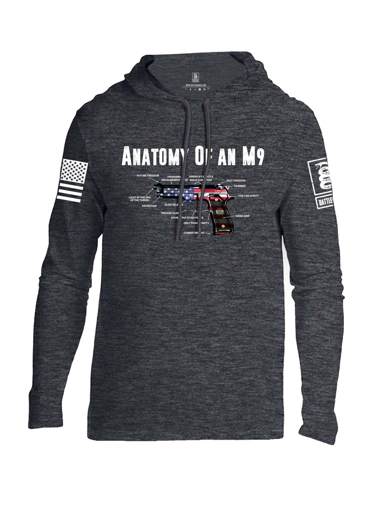 Battleraddle Anatomy Of An M9 White Sleeve Print Mens Thin Cotton Lightweight Hoodie