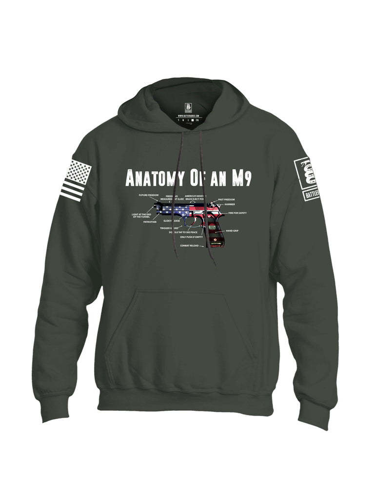 Battleraddle Anatomy Of An M9 White Sleeve Print Mens Blended Hoodie With Pockets