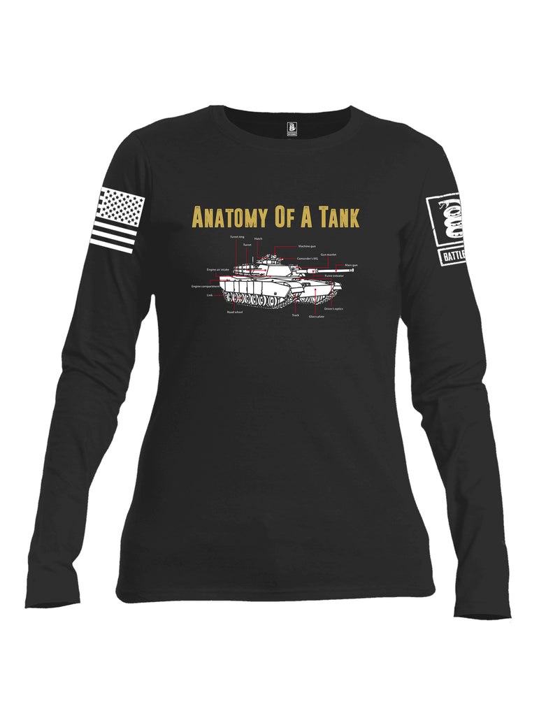 Battleraddle Anatomy Of A Tank White Sleeve Print Womens Cotton Long Sleeve Crew Neck T Shirt