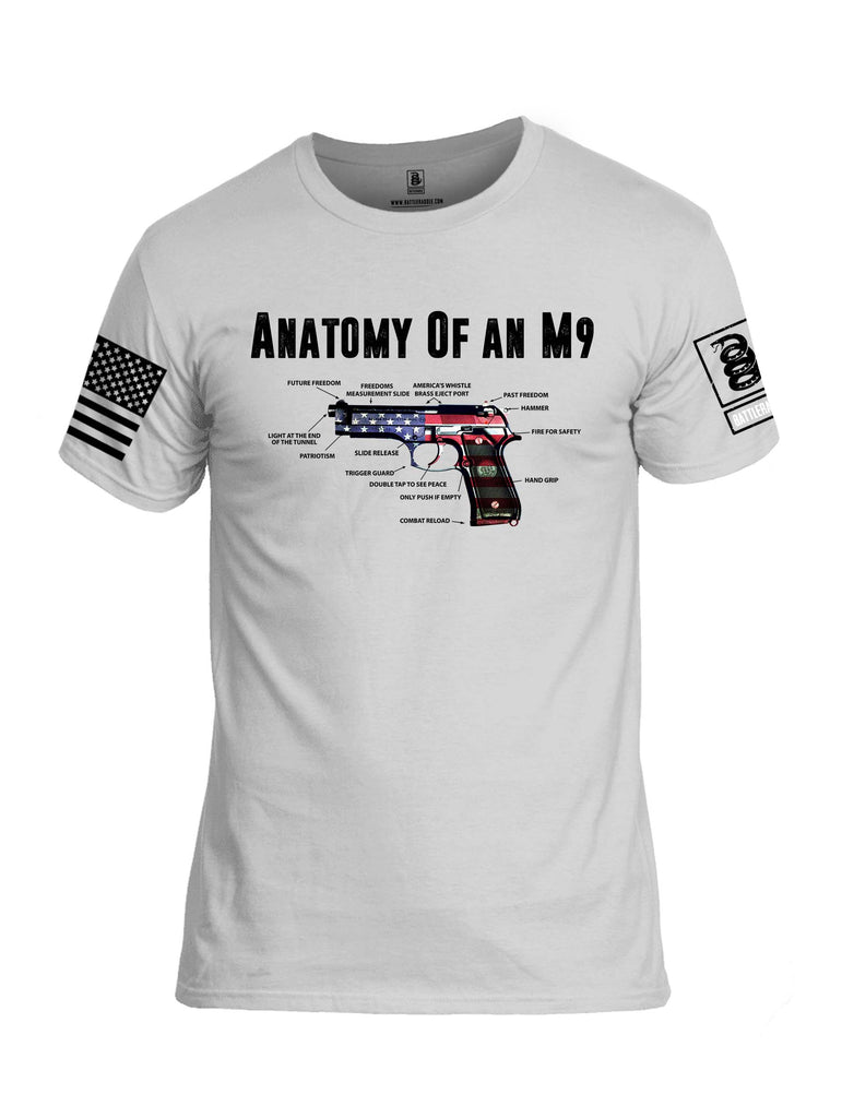 Battleraddle Anatomy Of An M9 White Sleeve Print Mens Cotton Crew Neck T Shirt