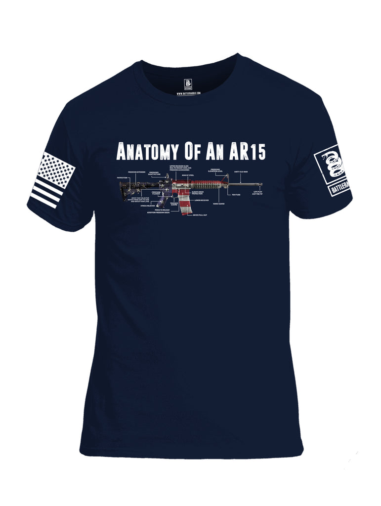 Battleraddle Anatomy Of An AR15 White Sleeve Print Mens Cotton Crew Neck T Shirt