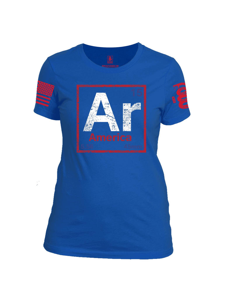 Battleraddle Periodic Table Of Elements Ar 15 5.56 45mm America Red Sleeve Print Womens Cotton Crew Neck T Shirt