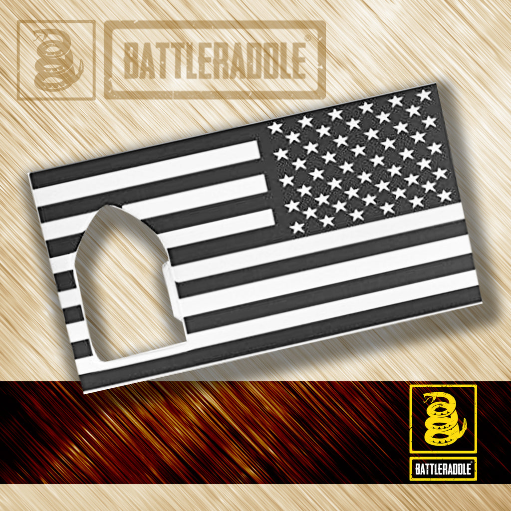 Battleraddle Credit Card Wallet Size Combat American Flag Military Bottle Opener - Battleraddle® LLC
